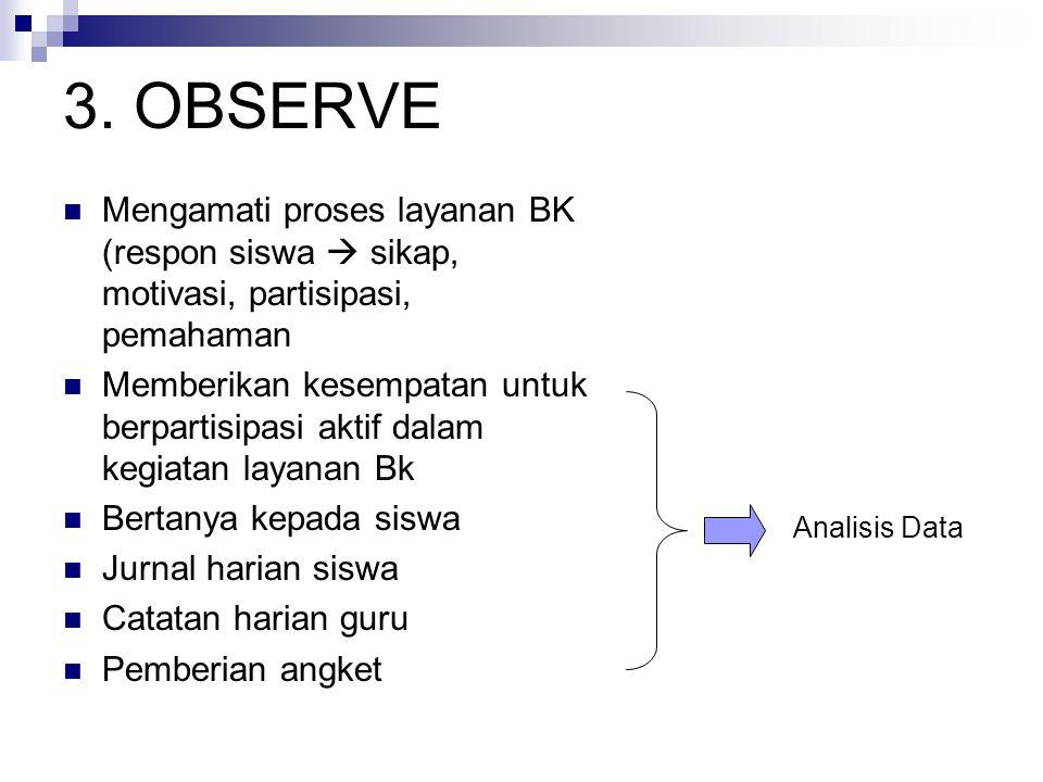3. OBSERVE Mengamati proses layanan BK (respon siswa  sikap, motivasi, partisipasi, pemahaman Memberikan kesempatan untuk berpartisipasi aktif dalam