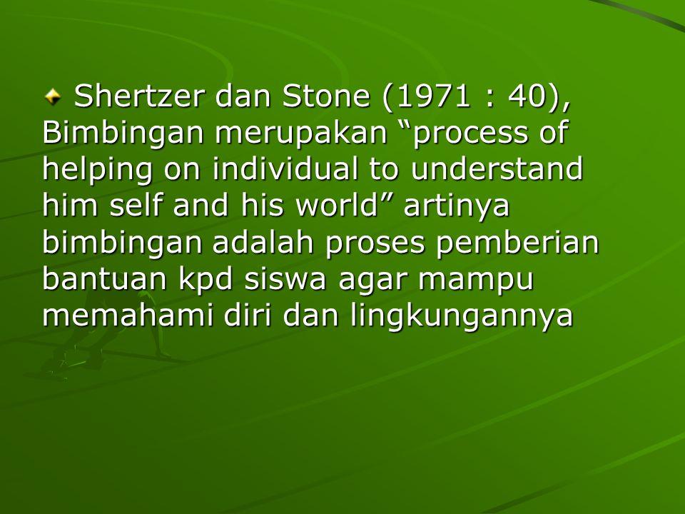 "Shertzer dan Stone (1971 : 40), Bimbingan merupakan ""process of helping on individual to understand him self and his world"" artinya bimbingan adalah p"