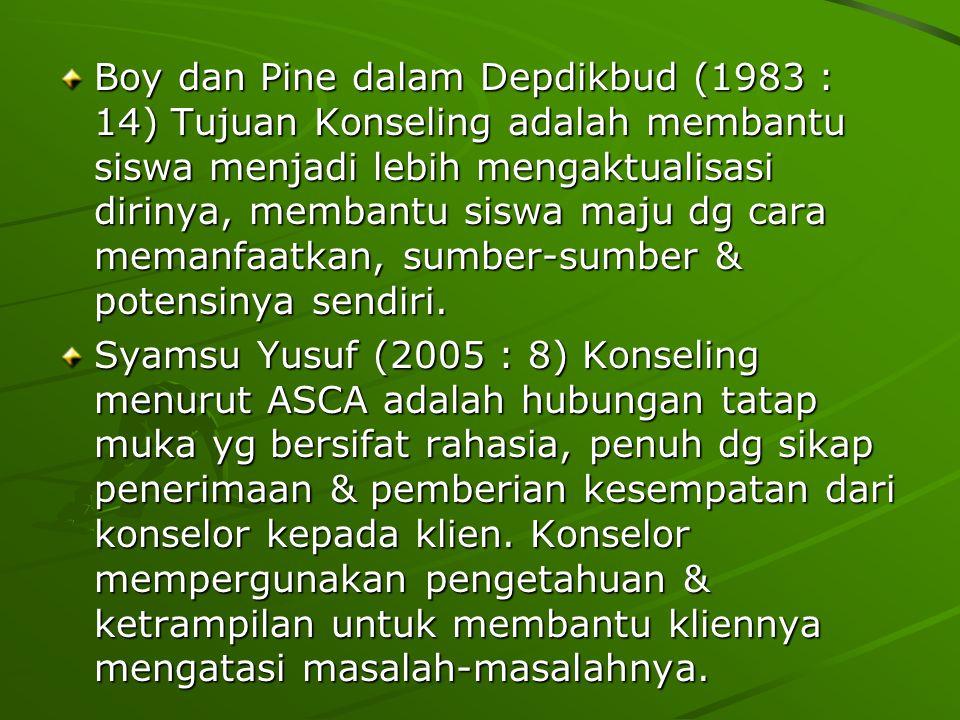 Boy dan Pine dalam Depdikbud (1983 : 14) Tujuan Konseling adalah membantu siswa menjadi lebih mengaktualisasi dirinya, membantu siswa maju dg cara mem