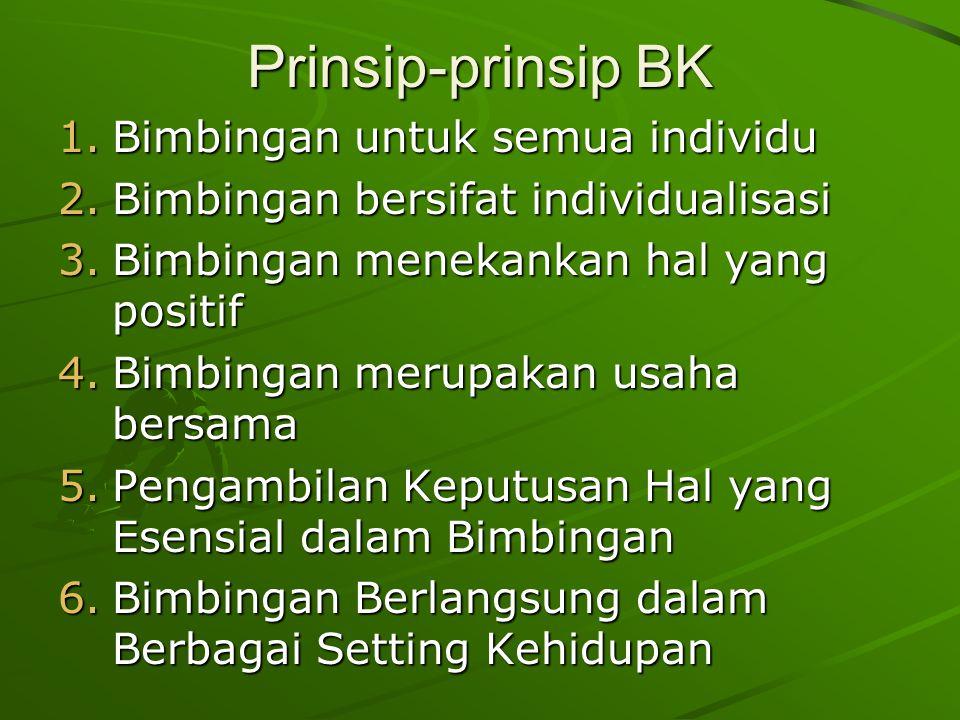 Prinsip-prinsip BK 1.Bimbingan untuk semua individu 2.Bimbingan bersifat individualisasi 3.Bimbingan menekankan hal yang positif 4.Bimbingan merupakan