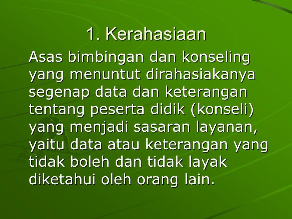 1. Kerahasiaan Asas bimbingan dan konseling yang menuntut dirahasiakanya segenap data dan keterangan tentang peserta didik (konseli) yang menjadi sasa