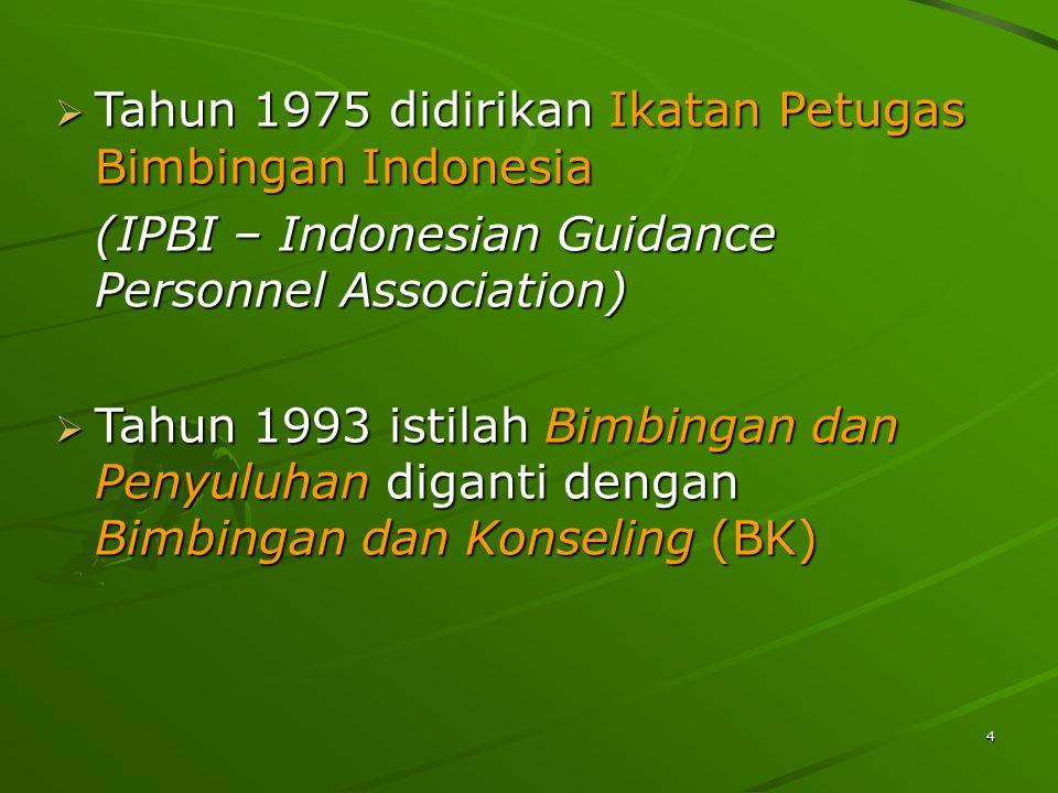 4  Tahun 1975 didirikan Ikatan Petugas Bimbingan Indonesia (IPBI – Indonesian Guidance Personnel Association)  Tahun 1993 istilah Bimbingan dan Penyuluhan diganti dengan Bimbingan dan Konseling (BK)