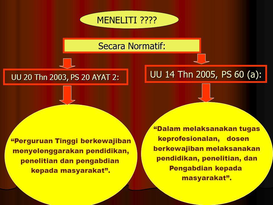 UU 20 Thn 2003, PS 20 AYAT 2: Perguruan Tinggi berkewajiban menyelenggarakan pendidikan, penelitian dan pengabdian kepada masyarakat .