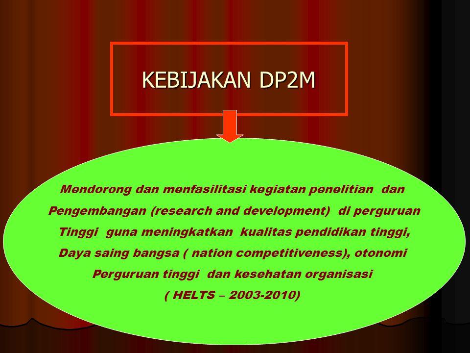 KEBIJAKAN DP2M Mendorong dan menfasilitasi kegiatan penelitian dan Pengembangan (research and development) di perguruan Tinggi guna meningkatkan kualitas pendidikan tinggi, Daya saing bangsa ( nation competitiveness), otonomi Perguruan tinggi dan kesehatan organisasi ( HELTS – 2003-2010)