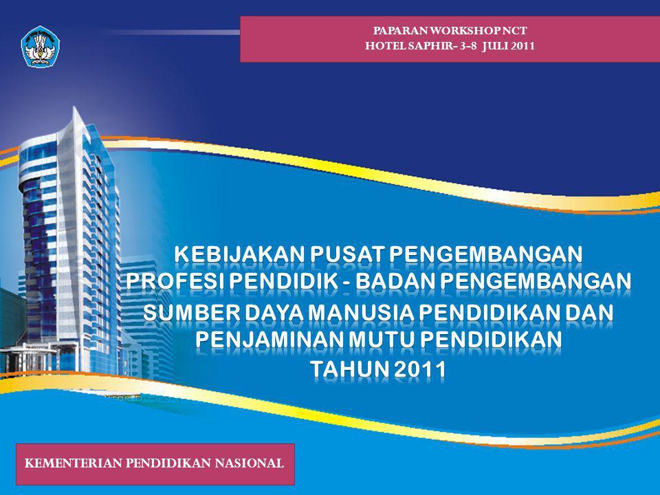 PAPARAN WORKSHOP NCT HOTEL SAPHIR- 3-8 JULI 2011 KEMENTERIAN PENDIDIKAN NASIONAL