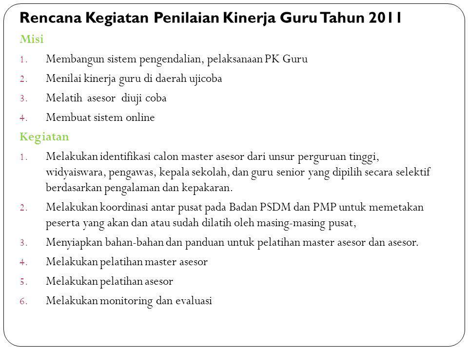 Misi 1. Membangun sistem pengendalian, pelaksanaan PK Guru 2. Menilai kinerja guru di daerah ujicoba 3. Melatih asesor diuji coba 4. Membuat sistem on