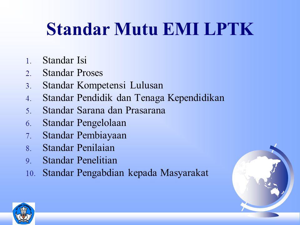 Standar Mutu EMI LPTK 1. Standar Isi 2. Standar Proses 3.