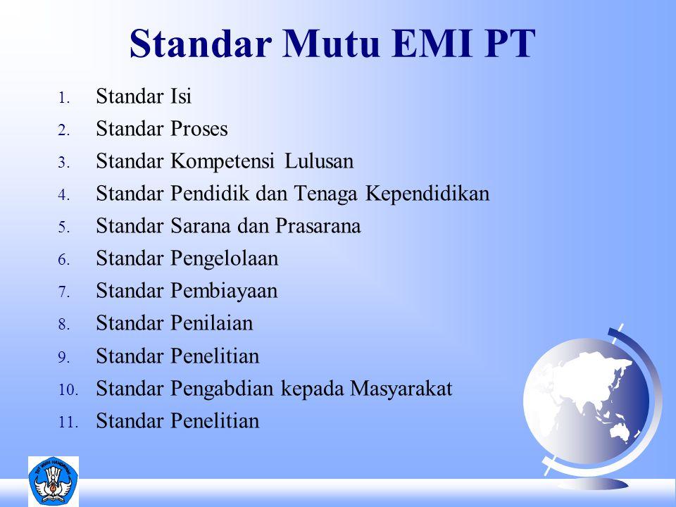 Standar Mutu EMI PT 1. Standar Isi 2. Standar Proses 3.