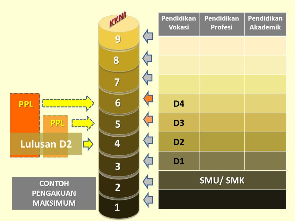 Pendidikan Vokasi Pendidikan Profesi Pendidikan Akademik D4 D3 D2 D1 SMU/ SMK PPL PPL Lulusan D2 CONTOH PENGAKUAN MAKSIMUM 1 2 3 4 5 7 8 9 6