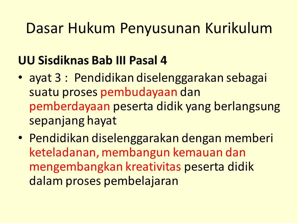 Dasar Hukum Penyusunan Kurikulum UU Sisdiknas Bab III Pasal 4 ayat 3 : Pendidikan diselenggarakan sebagai suatu proses pembudayaan dan pemberdayaan pe
