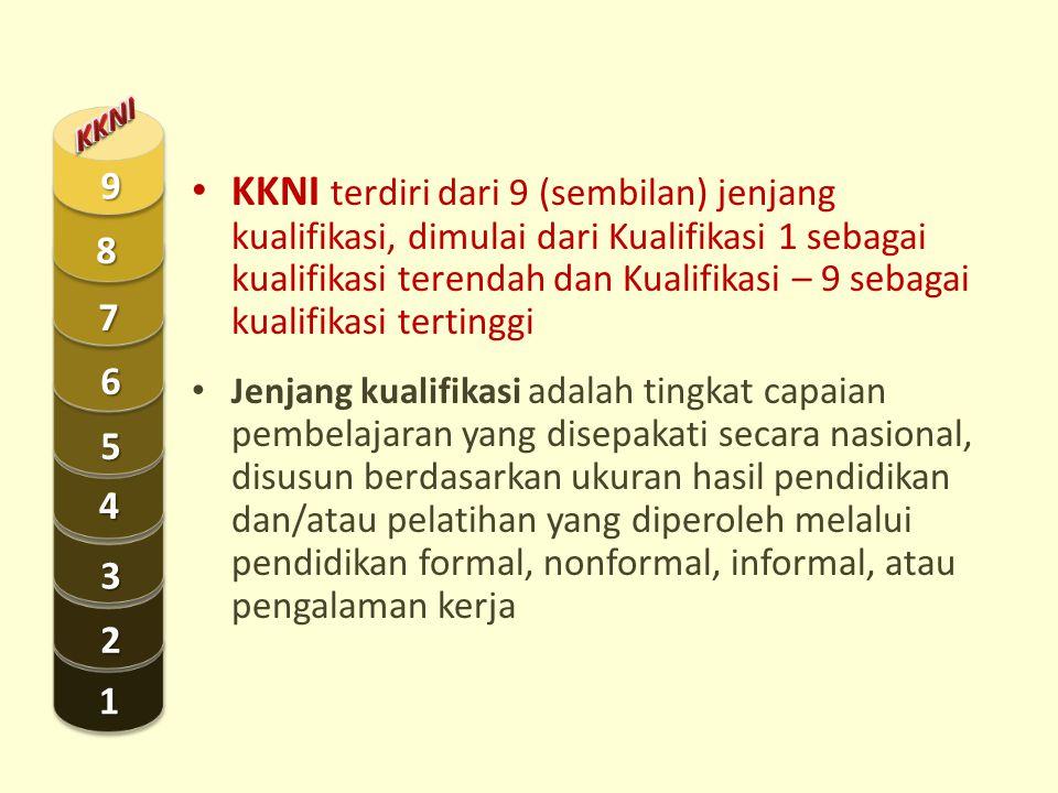 KKNI terdiri dari 9 (sembilan) jenjang kualifikasi, dimulai dari Kualifikasi 1 sebagai kualifikasi terendah dan Kualifikasi – 9 sebagai kualifikasi te