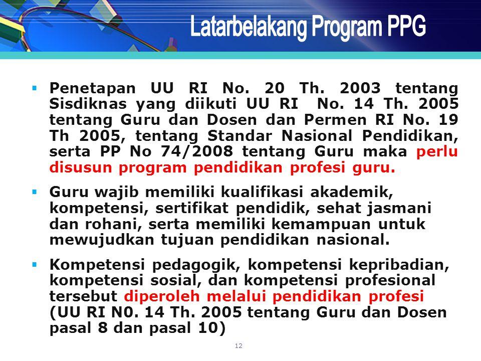  Penetapan UU RI No. 20 Th. 2003 tentang Sisdiknas yang diikuti UU RI No. 14 Th. 2005 tentang Guru dan Dosen dan Permen RI No. 19 Th 2005, tentang St