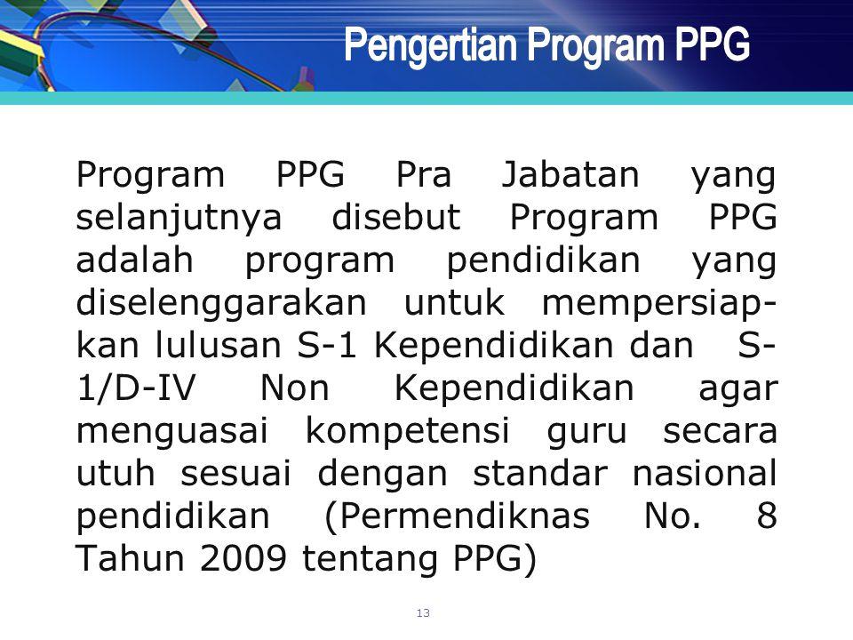 Program PPG Pra Jabatan yang selanjutnya disebut Program PPG adalah program pendidikan yang diselenggarakan untuk mempersiap- kan lulusan S-1 Kependid