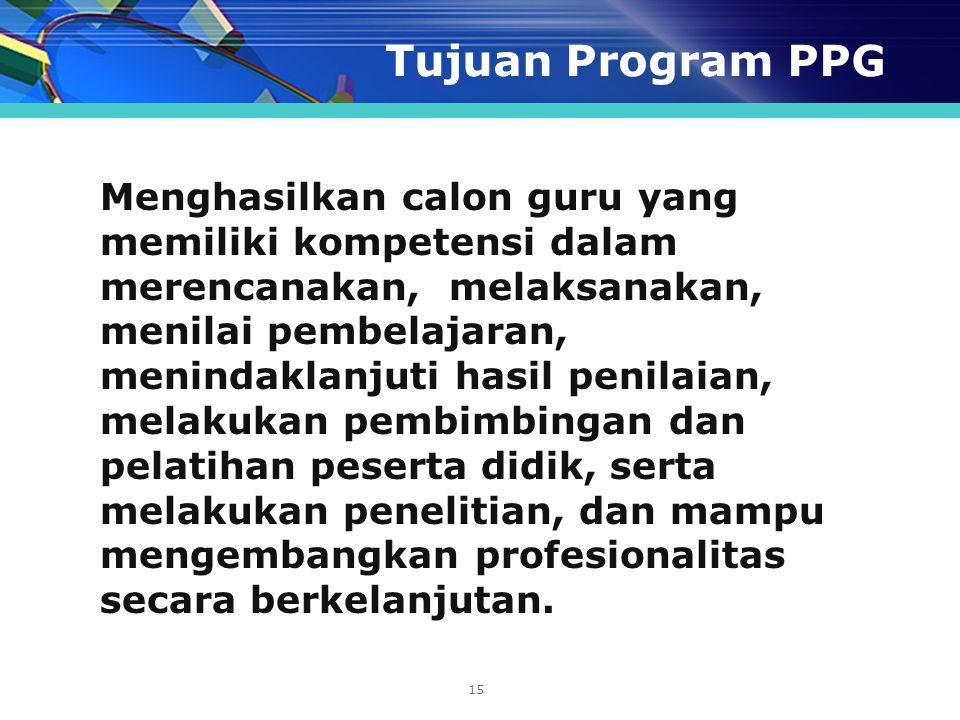 Tujuan Program PPG Menghasilkan calon guru yang memiliki kompetensi dalam merencanakan, melaksanakan, menilai pembelajaran, menindaklanjuti hasil peni