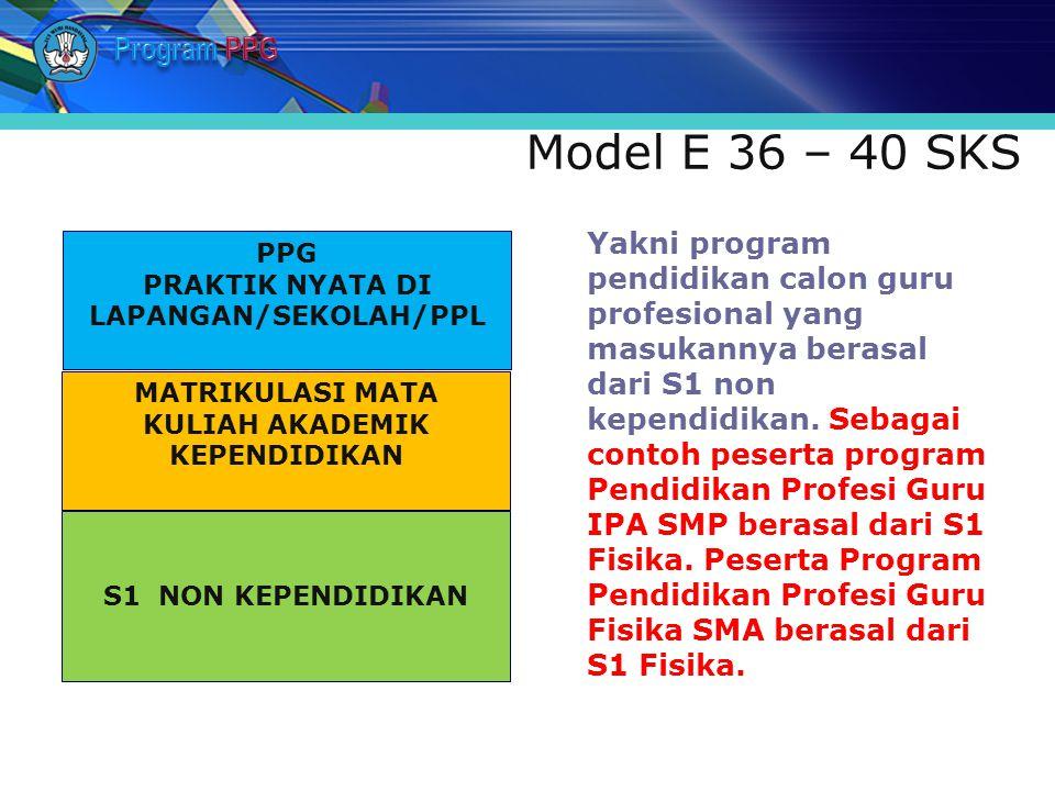 Model E 36 – 40 SKS Yakni program pendidikan calon guru profesional yang masukannya berasal dari S1 non kependidikan. Sebagai contoh peserta program P