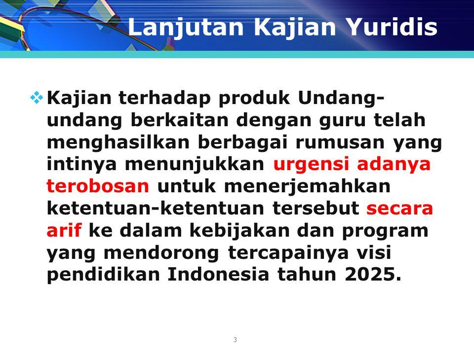 Landasan Yuridis  UU RI Nomor 20 Tahun 2003, tentang Sistem Pendidikan Nasional.
