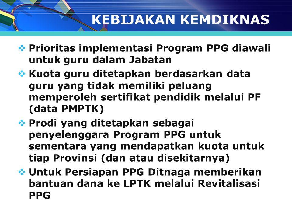 KEBIJAKAN KEMDIKNAS  Prioritas implementasi Program PPG diawali untuk guru dalam Jabatan  Kuota guru ditetapkan berdasarkan data guru yang tidak mem