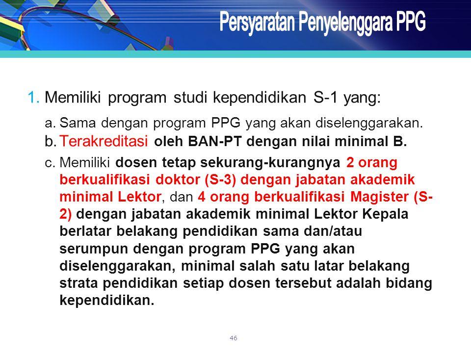 1.Memiliki program studi kependidikan S-1 yang: a.Sama dengan program PPG yang akan diselenggarakan. b.Terakreditasi oleh BAN-PT dengan nilai minimal