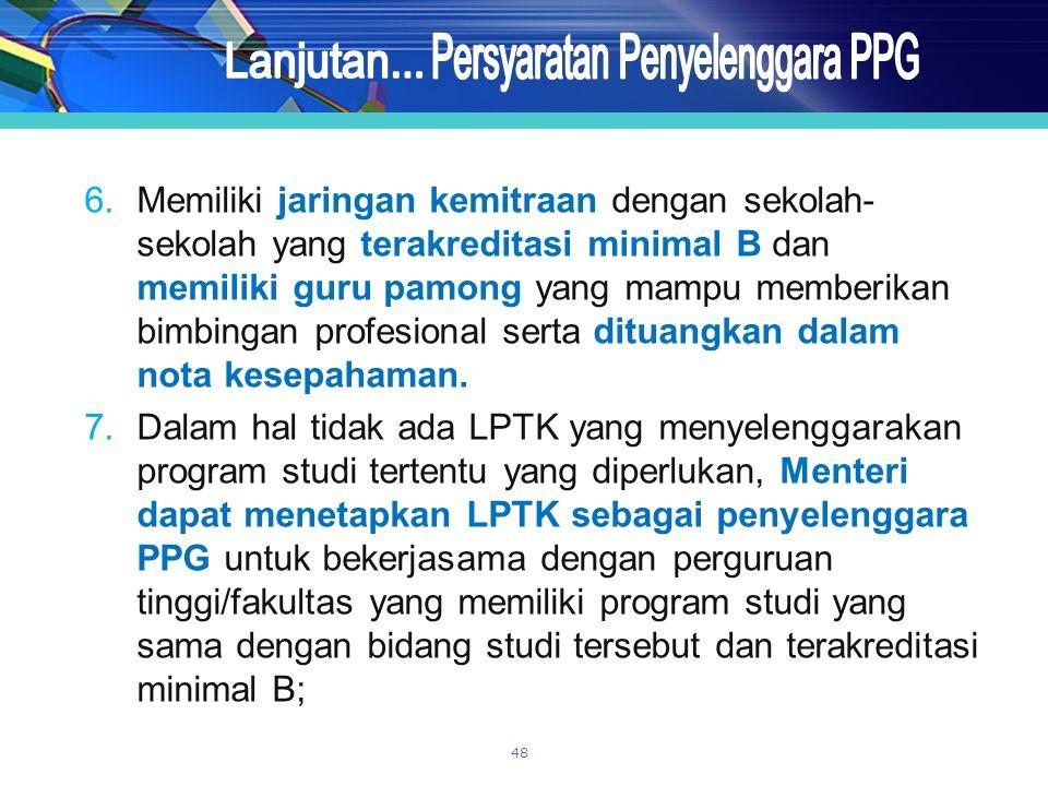 6.Memiliki jaringan kemitraan dengan sekolah- sekolah yang terakreditasi minimal B dan memiliki guru pamong yang mampu memberikan bimbingan profesiona