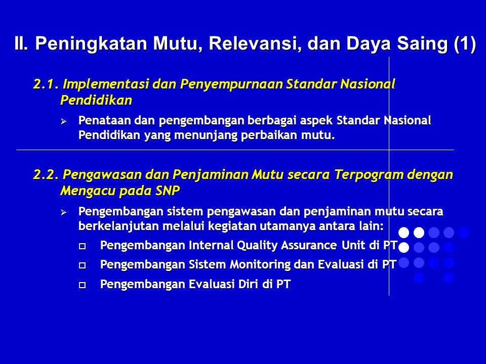II. Peningkatan Mutu, Relevansi, dan Daya Saing (1) 2.1. Implementasi dan Penyempurnaan Standar Nasional Pendidikan  Penataan dan pengembangan berbag