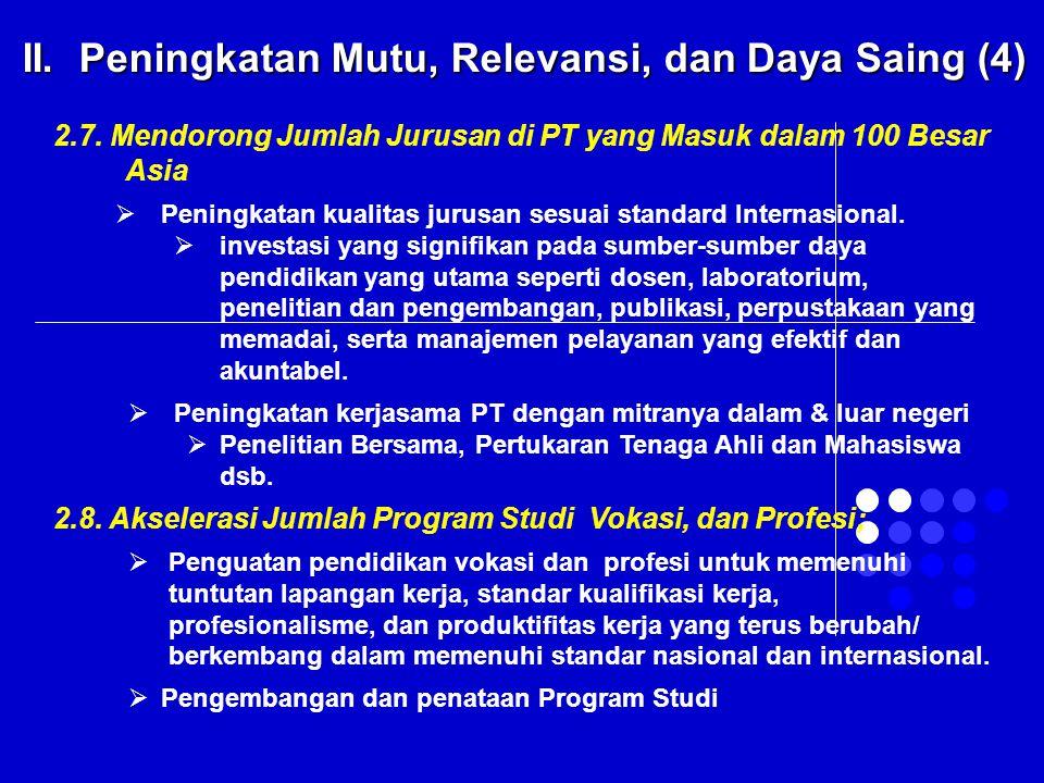 2.7. Mendorong Jumlah Jurusan di PT yang Masuk dalam 100 Besar Asia  Peningkatan kualitas jurusan sesuai standard Internasional.  investasi yang sig