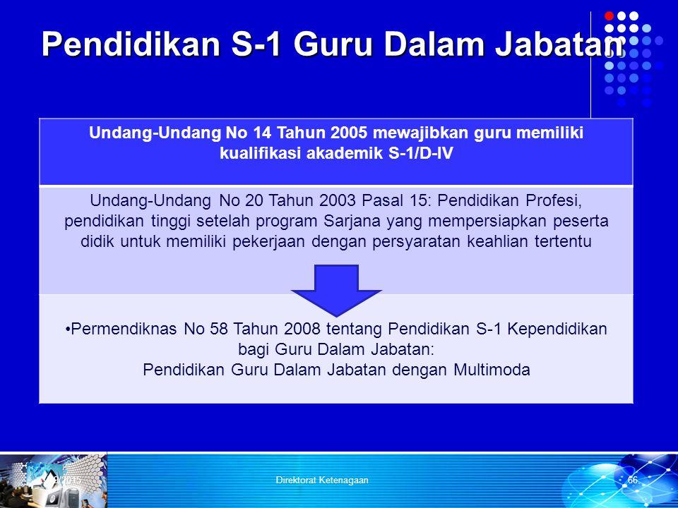 Pendidikan S-1 Guru Dalam Jabatan Undang-Undang No 14 Tahun 2005 mewajibkan guru memiliki kualifikasi akademik S-1/D-IV Undang-Undang No 20 Tahun 2003