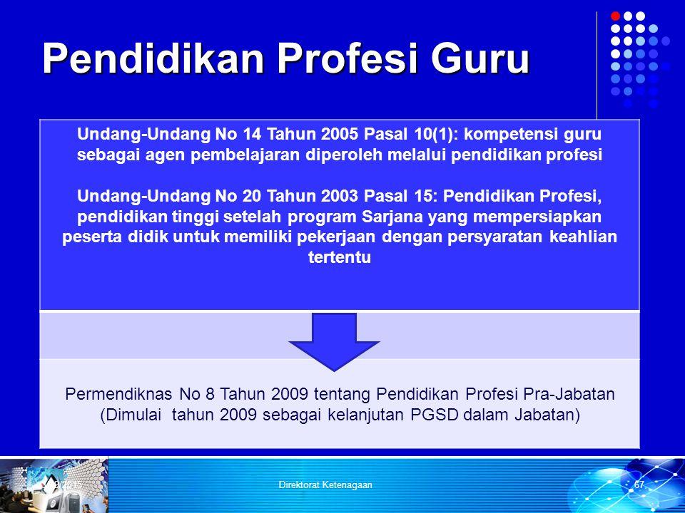 Pendidikan Profesi Guru Undang-Undang No 14 Tahun 2005 Pasal 10(1): kompetensi guru sebagai agen pembelajaran diperoleh melalui pendidikan profesi Und