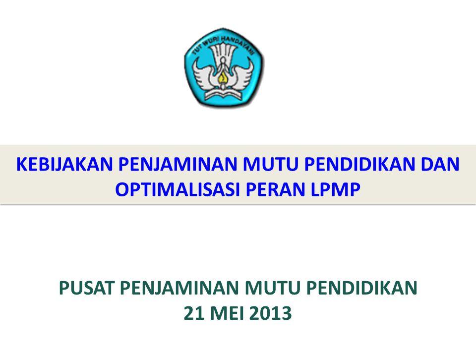 KEBIJAKAN PENJAMINAN MUTU PENDIDIKAN DAN OPTIMALISASI PERAN LPMP PUSAT PENJAMINAN MUTU PENDIDIKAN 21 MEI 2013