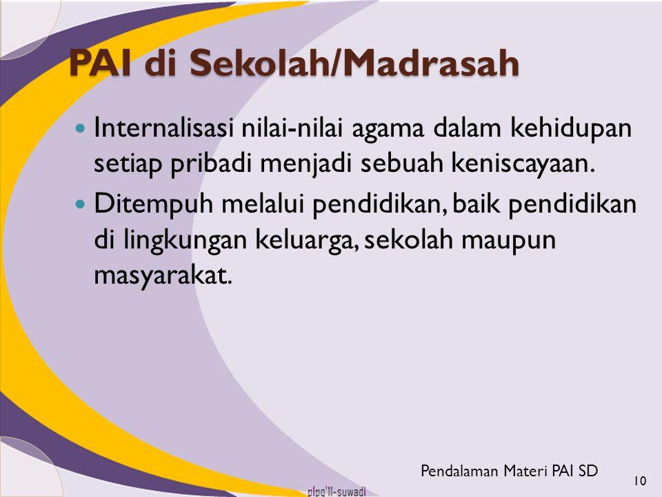 PAI di Sekolah/Madrasah Internalisasi nilai-nilai agama dalam kehidupan setiap pribadi menjadi sebuah keniscayaan. Ditempuh melalui pendidikan, baik p