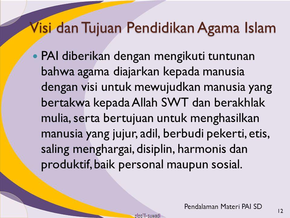 Visi dan Tujuan Pendidikan Agama Islam PAI diberikan dengan mengikuti tuntunan bahwa agama diajarkan kepada manusia dengan visi untuk mewujudkan manus