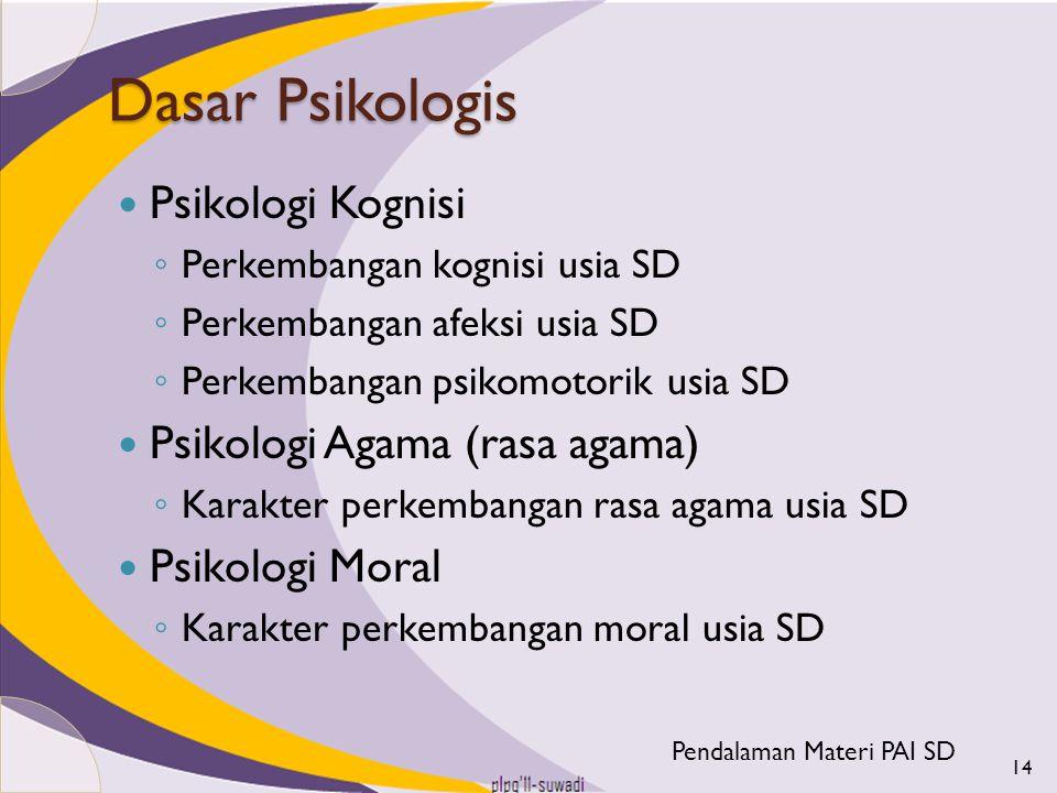 Dasar Psikologis Psikologi Kognisi ◦ Perkembangan kognisi usia SD ◦ Perkembangan afeksi usia SD ◦ Perkembangan psikomotorik usia SD Psikologi Agama (r