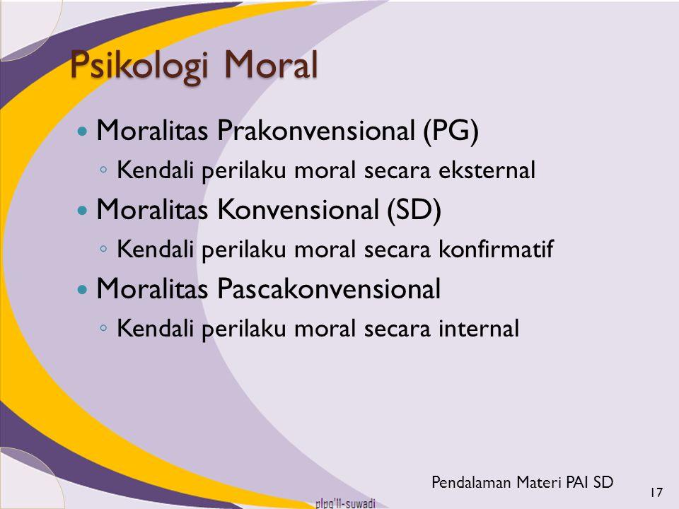 Psikologi Moral Moralitas Prakonvensional (PG) ◦ Kendali perilaku moral secara eksternal Moralitas Konvensional (SD) ◦ Kendali perilaku moral secara k