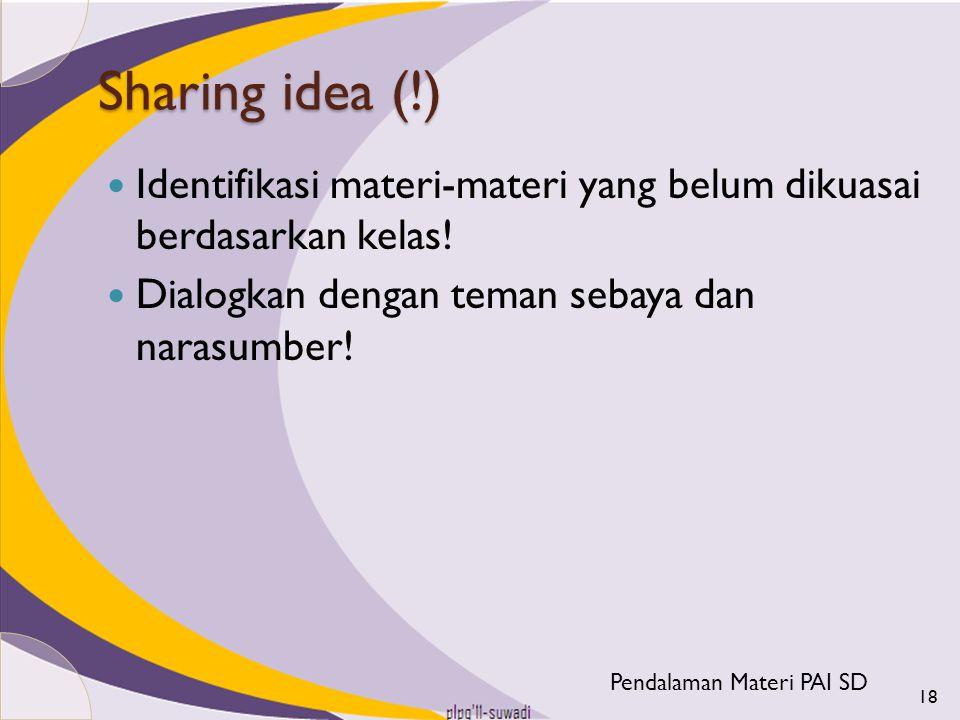 Sharing idea (!) Identifikasi materi-materi yang belum dikuasai berdasarkan kelas! Dialogkan dengan teman sebaya dan narasumber! 18 Pendalaman Materi