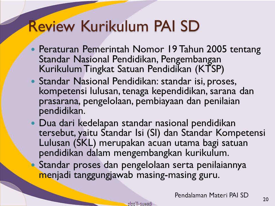 Review Kurikulum PAI SD Peraturan Pemerintah Nomor 19 Tahun 2005 tentang Standar Nasional Pendidikan, Pengembangan Kurikulum Tingkat Satuan Pendidikan