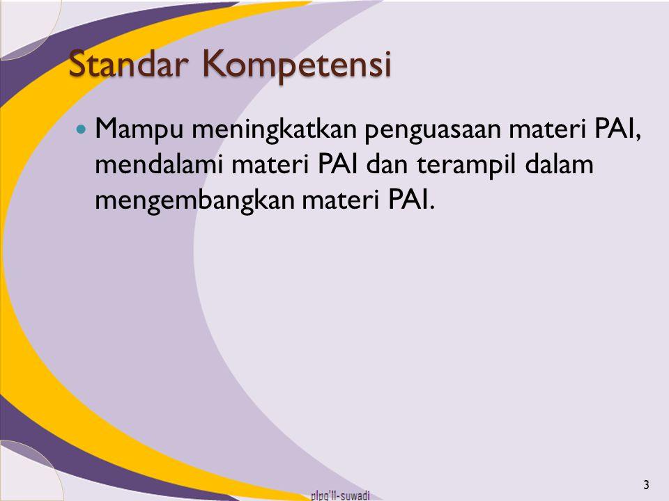 Kelas II, Semester 1 Standar KompetensiKompetensi Dasar Al Qur'an 1.