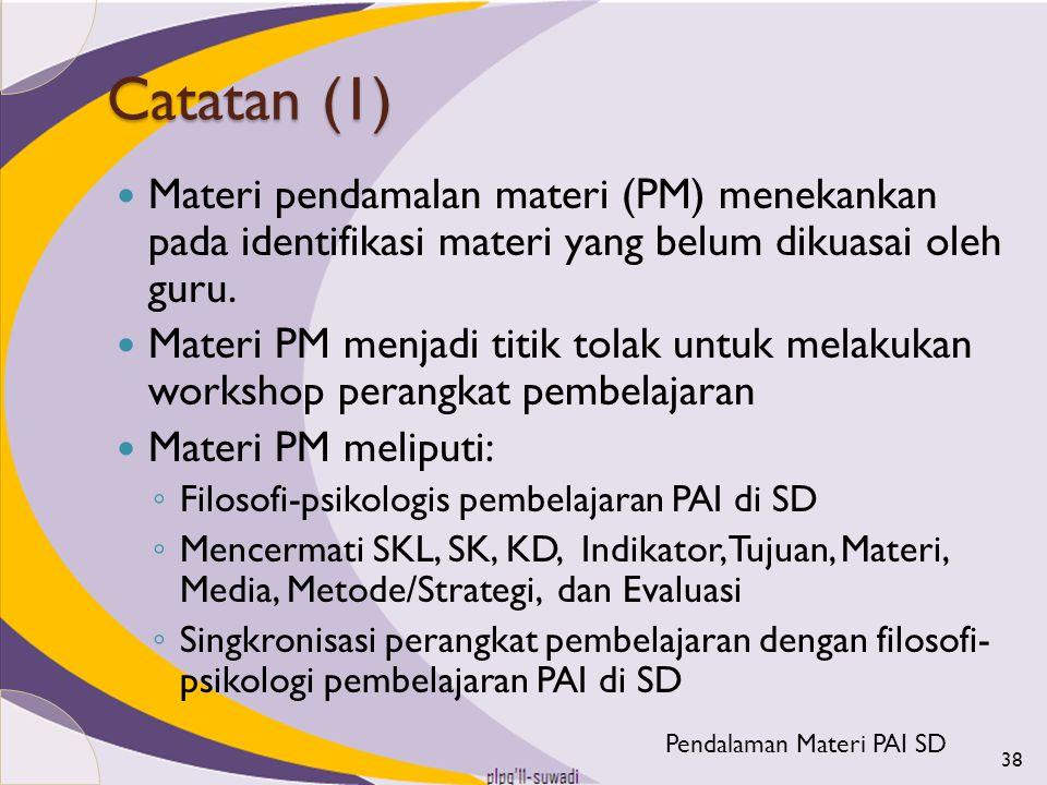 Catatan (1) Materi pendamalan materi (PM) menekankan pada identifikasi materi yang belum dikuasai oleh guru. Materi PM menjadi titik tolak untuk melak
