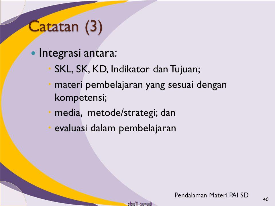 Catatan (3) Integrasi antara:  SKL, SK, KD, Indikator dan Tujuan;  materi pembelajaran yang sesuai dengan kompetensi;  media, metode/strategi; dan
