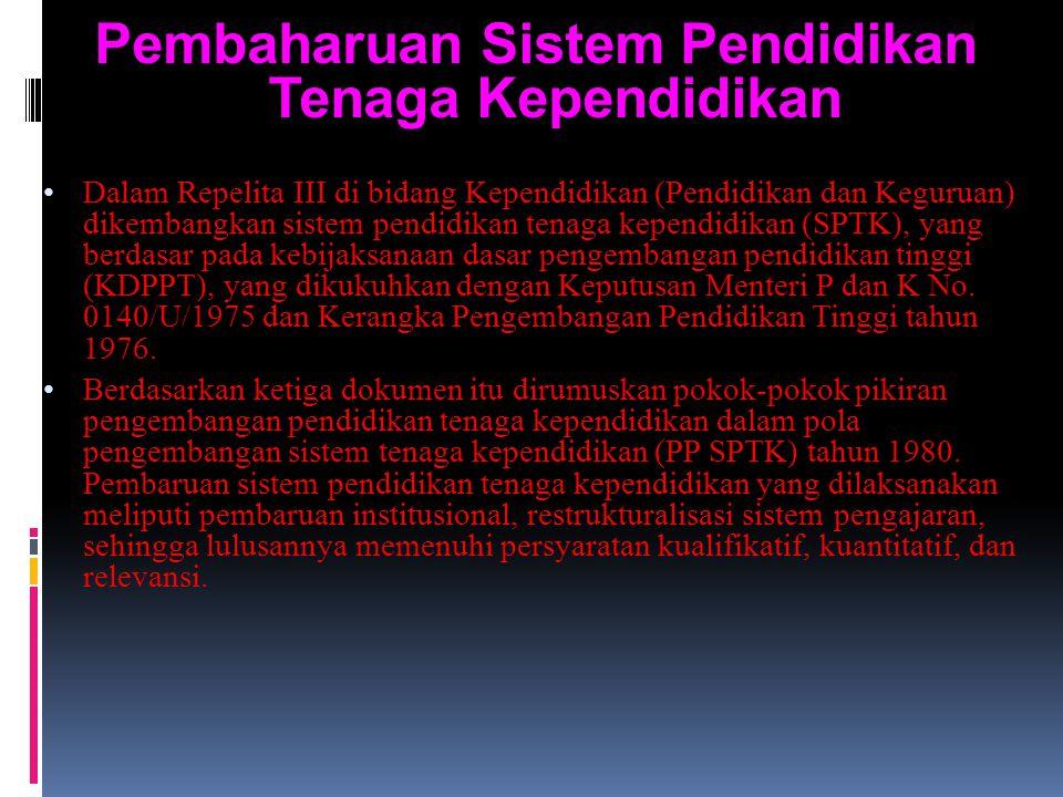 Pembaharuan Sistem Pendidikan Tenaga Kependidikan Dalam Repelita III di bidang Kependidikan (Pendidikan dan Keguruan) dikembangkan sistem pendidikan tenaga kependidikan (SPTK), yang berdasar pada kebijaksanaan dasar pengembangan pendidikan tinggi (KDPPT), yang dikukuhkan dengan Keputusan Menteri P dan K No.