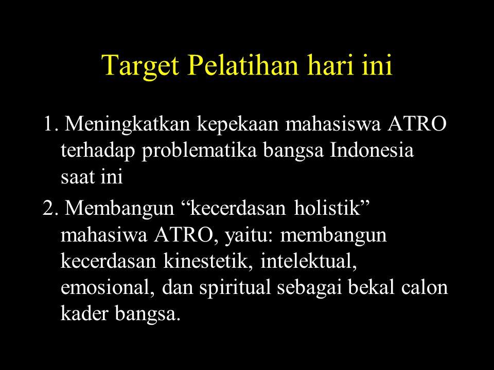"""Target Pelatihan hari ini 1. Meningkatkan kepekaan mahasiswa ATRO terhadap problematika bangsa Indonesia saat ini 2. Membangun """"kecerdasan holistik"""" m"""