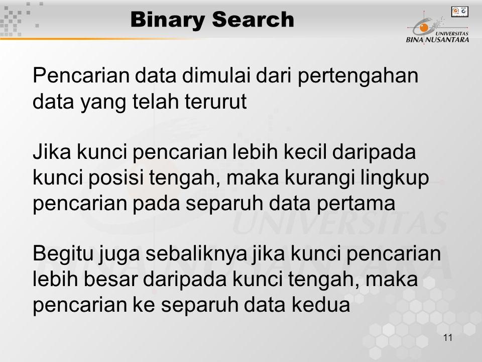 11 Binary Search Pencarian data dimulai dari pertengahan data yang telah terurut Jika kunci pencarian lebih kecil daripada kunci posisi tengah, maka k