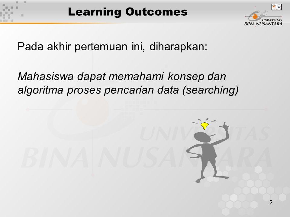 2 Learning Outcomes Pada akhir pertemuan ini, diharapkan: Mahasiswa dapat memahami konsep dan algoritma proses pencarian data (searching)