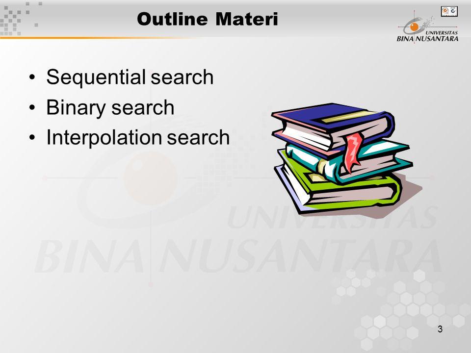 3 Outline Materi Sequential search Binary search Interpolation search