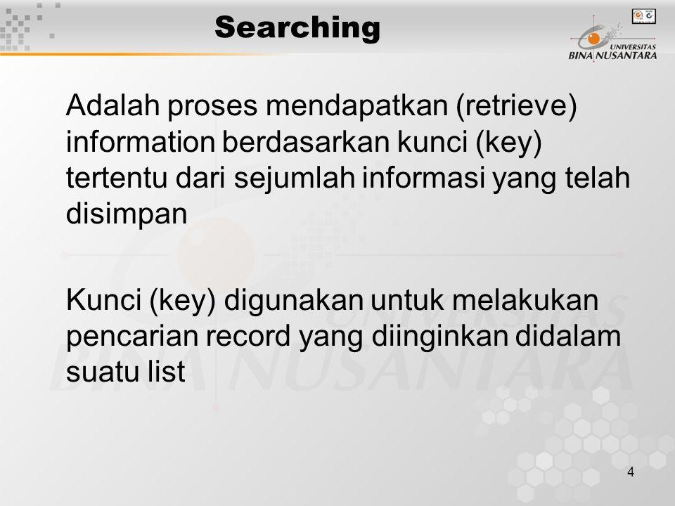 4 Searching Adalah proses mendapatkan (retrieve) information berdasarkan kunci (key) tertentu dari sejumlah informasi yang telah disimpan Kunci (key)