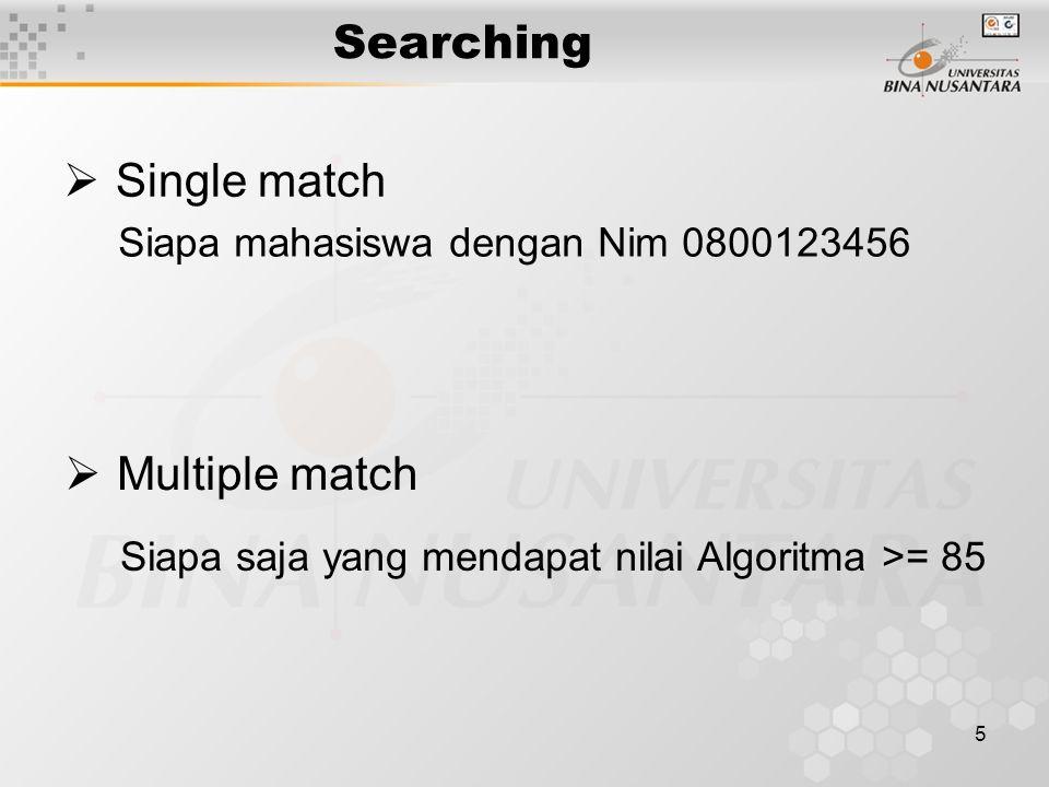 5 Searching  Single match  Multiple match Siapa mahasiswa dengan Nim 0800123456 Siapa saja yang mendapat nilai Algoritma >= 85