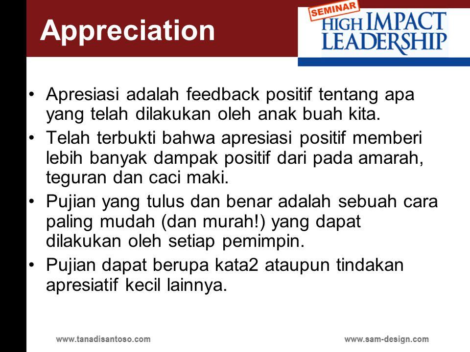 Apresiasi adalah feedback positif tentang apa yang telah dilakukan oleh anak buah kita.