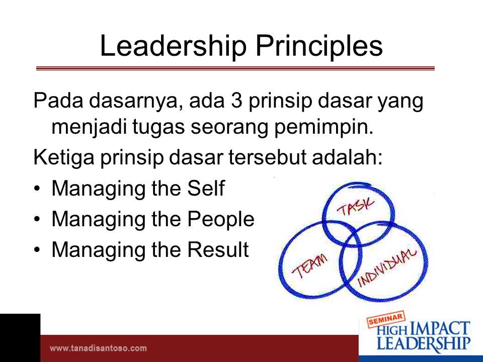 Leadership Principles Pada dasarnya, ada 3 prinsip dasar yang menjadi tugas seorang pemimpin.