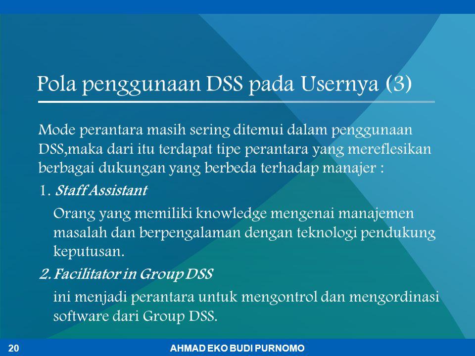 Pola penggunaan DSS pada Usernya (3) Mode perantara masih sering ditemui dalam penggunaan DSS,maka dari itu terdapat tipe perantara yang mereflesikan