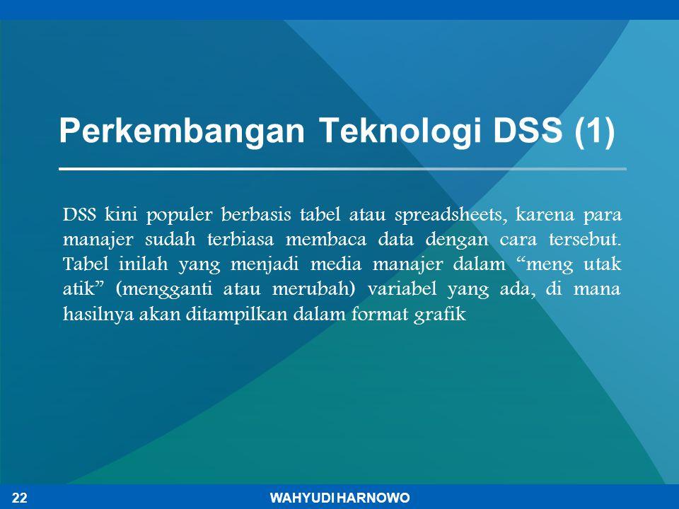 DSS kini populer berbasis tabel atau spreadsheets, karena para manajer sudah terbiasa membaca data dengan cara tersebut. Tabel inilah yang menjadi med