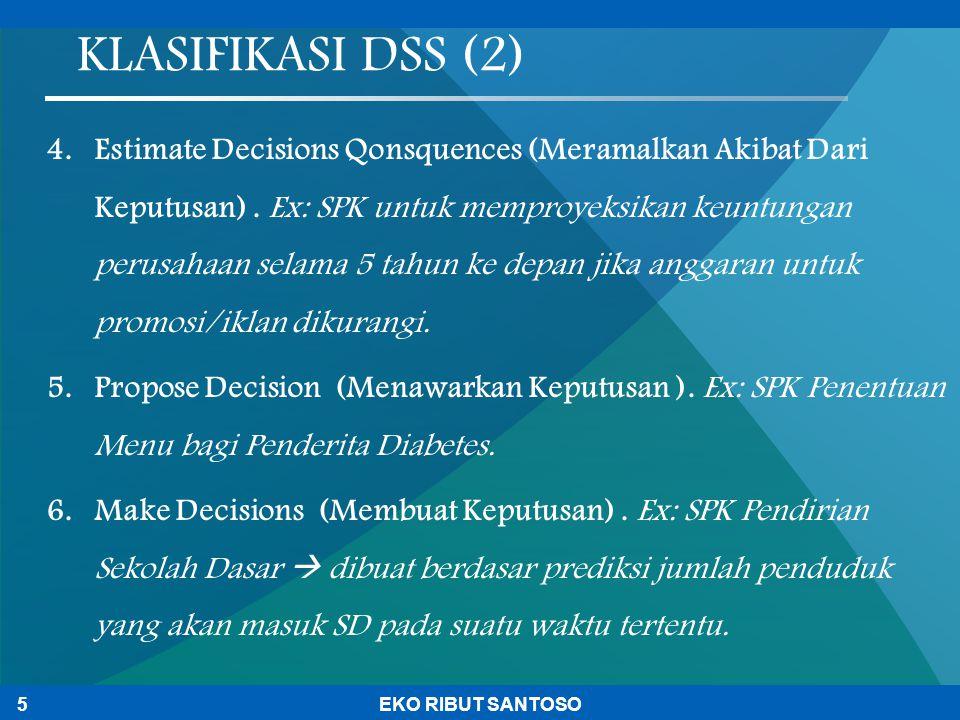 4.Estimate Decisions Qonsquences (Meramalkan Akibat Dari Keputusan). Ex: SPK untuk memproyeksikan keuntungan perusahaan selama 5 tahun ke depan jika a