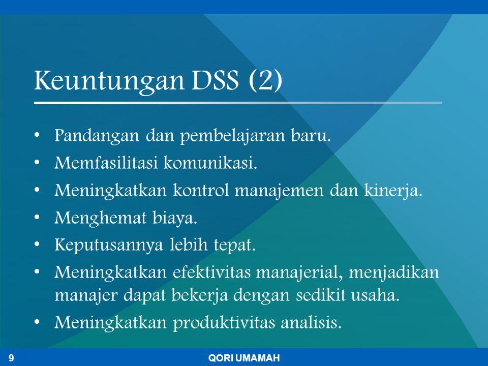 Keuntungan DSS (2) Pandangan dan pembelajaran baru. Memfasilitasi komunikasi. Meningkatkan kontrol manajemen dan kinerja. Menghemat biaya. Keputusanny